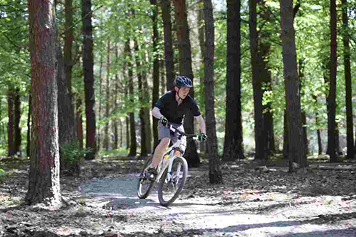 27/05/12 Hurstwood , Burnley - MTB ers on new trail ride through woods at Hurstwood