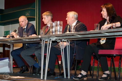 Stephen Irvine (left) responding to questions
