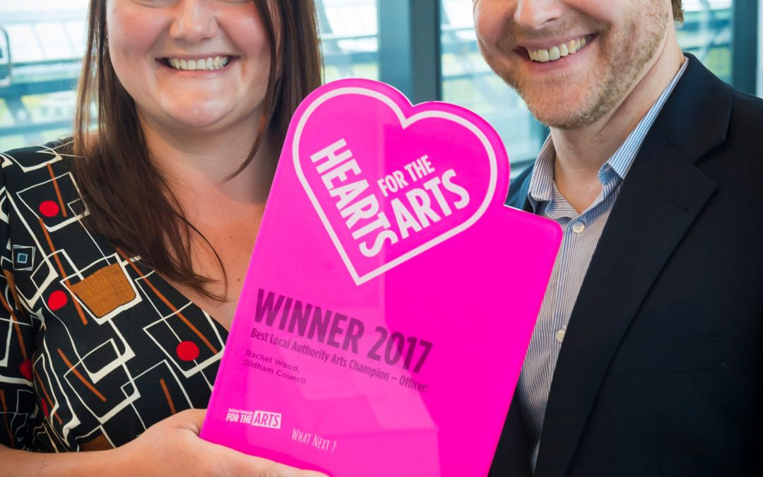 Rachel Wood recieves the Hearts for the Arts Award in Oldham